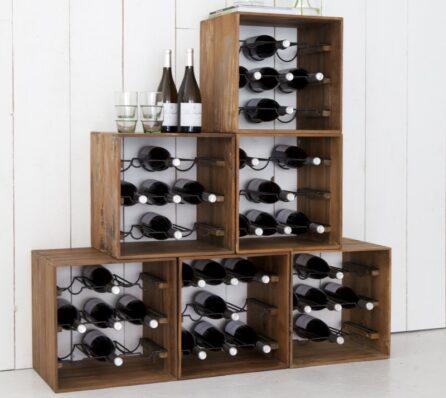מדפי יין מעץ