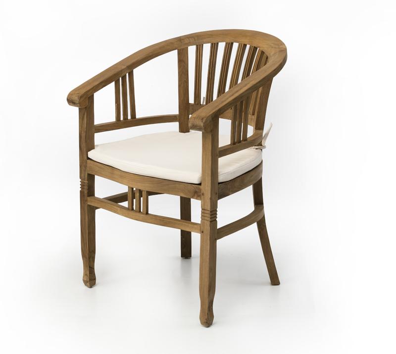 כיסא עץ מלא עם גב מעוגל