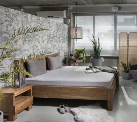 מיטה זוגית בסגנון כפרי