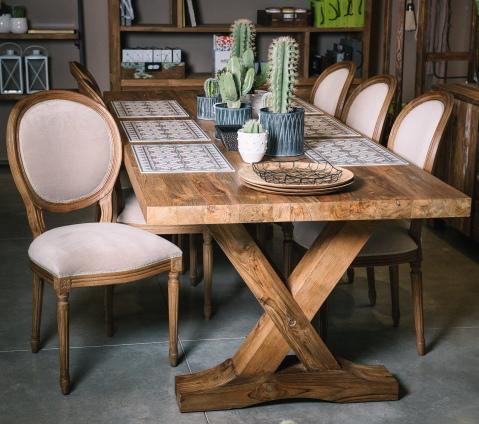 סופר שולחן אוכל עץ מלא עם פלטת עץ עבה   פינות אוכל מרובעות   וסטו GB-74
