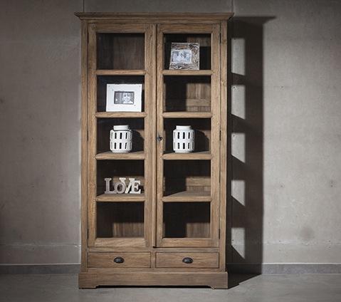 מדהים ארון ויטרינה שתי דלתות   ויטרינת עץ מלא   ויטרינה כפרית   וסטו RK-58