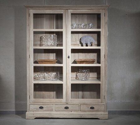 מודרניסטית ארון ויטרינה כפרי   ויטרינת עץ מלא   ויטרינה לסלון   וסטו - רהיטי YA-11