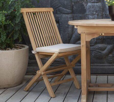 כיסא גינה מתקפל מעץ טיק