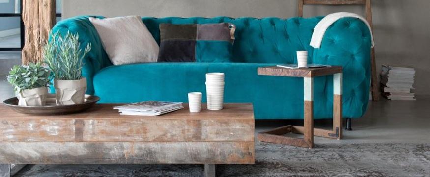 ספה וינטג' בצבע טורקיז