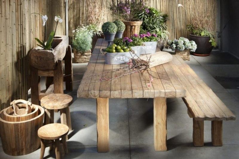 רהיטי גן מעץ מלא