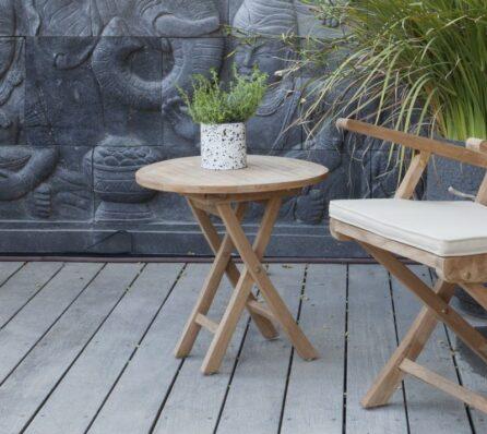 שולחן גן עגול מעץ מלא