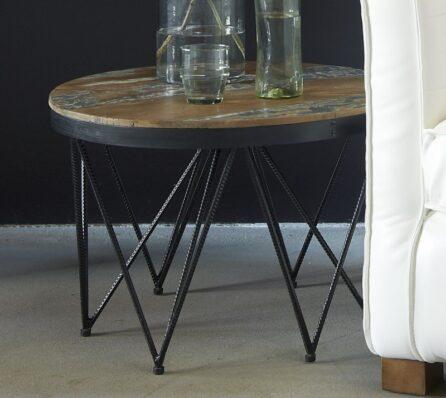 שולחן קפה משולב עץ מלא וברזל