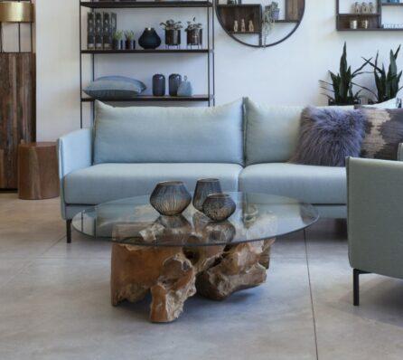 שולחן סלון משורש עץ טיק