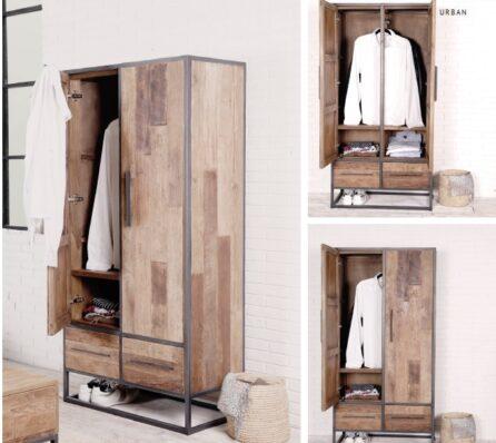 ארון בגדים מעץ מלא ממוחזר