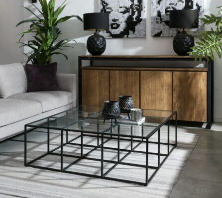 שולחן קפה ברזל וזכוכית