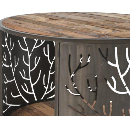 שולחן סלון עגול - עץ וברזל