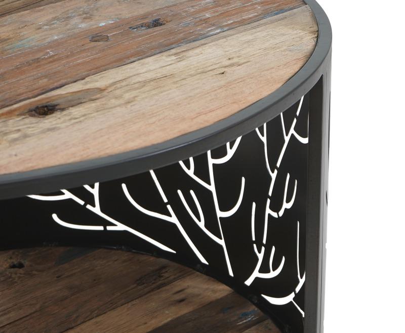 שולחן עגול עץ מלא עם ברזל