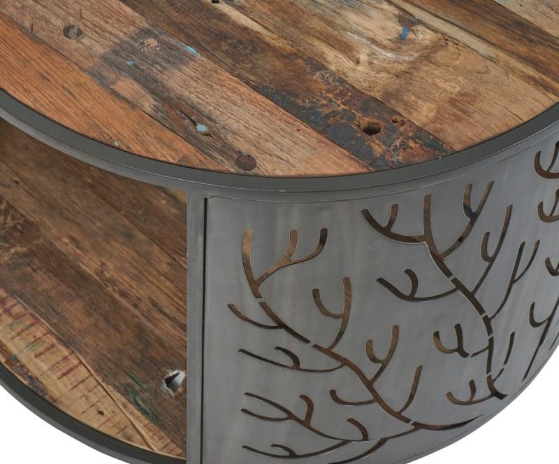 שולחן עגול משולב ברזל ועץ מלא