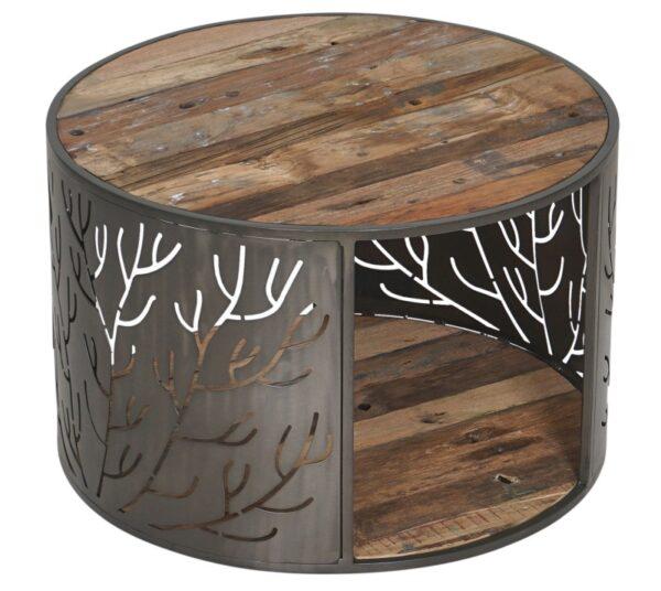 שולחן סלון עגול משולב עץ וברזל