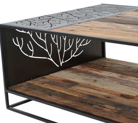 שולחן סלון מעץ ממוחזר משולב ברזל