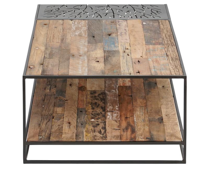 שולחן מלבני משולב עץ מלא וברזל