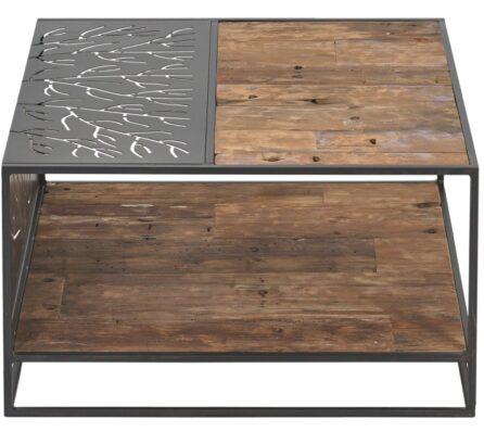 שולחן סלון עץ ממוחזר משולב ברזל