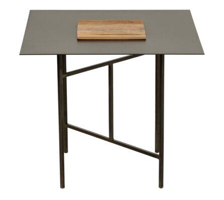 שולחן צד מלבני משולב ברזל ועץ