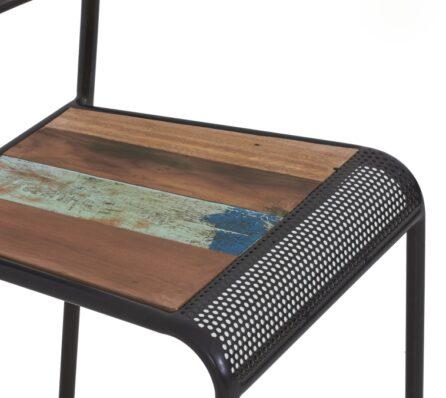 כיסא מושב עץ מלא ממוחזר