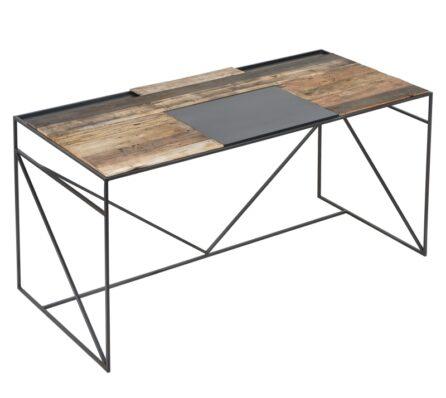 שולחן כתיבה עץ ממוחזר משולב ברזל