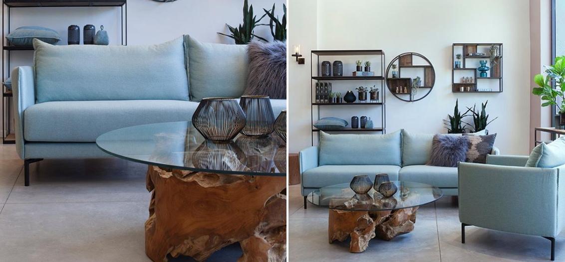שולחן קפה לסלון - גזע עץ וזכוכית