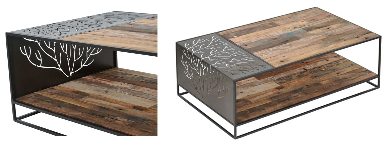 שולחן קפה לסלון מעץ ממוחזר