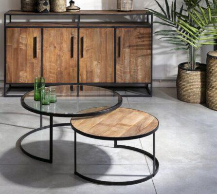 שולחן קפה זכוכית ועץ
