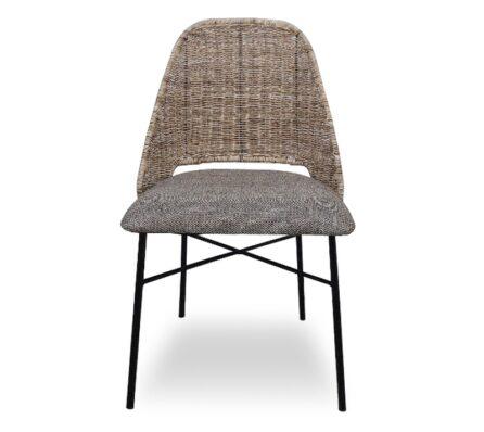 כיסא אוכל מרופד ראטן