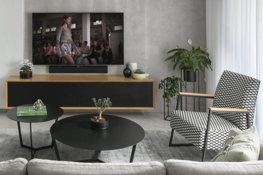ריהוט לסלון מודרני עם נגיעות רטרו