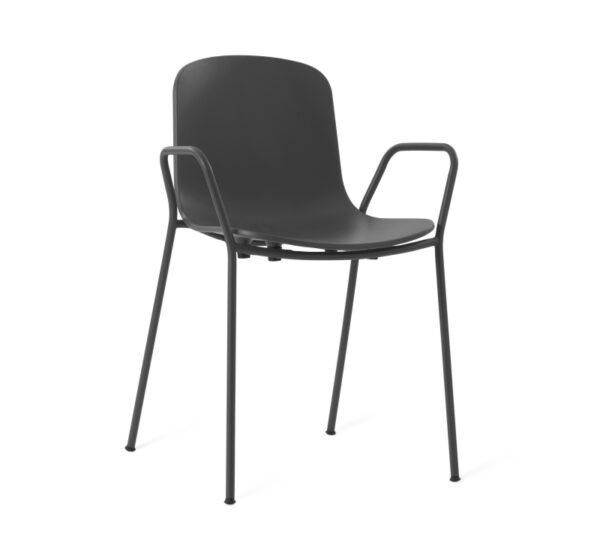 כיסא אוכל שחור עם ידיות