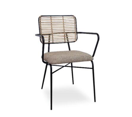 כיסא אוכל ראטן וברזל