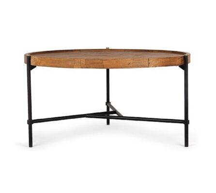 שולחן קפה עגול עץ וברזל