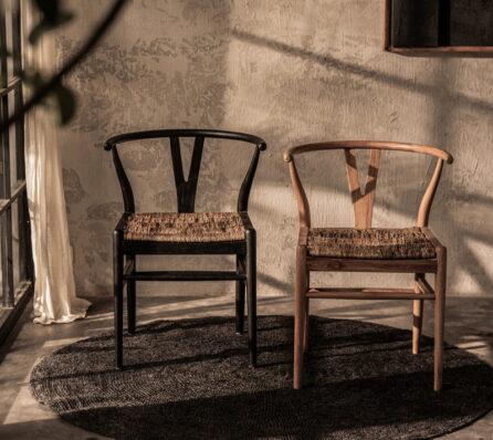 כיסא עץ וראטן לפינת אוכל