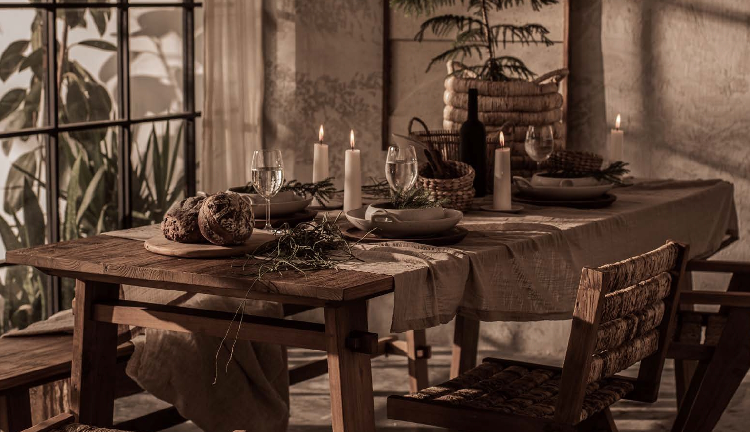 שולחן אוכל כפרי